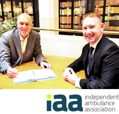 Alan Howson, Executive Chairman of the IAA with Rob Rowley from KTIB Ambulance